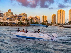 Fun Boat on Intracoastal Sunset